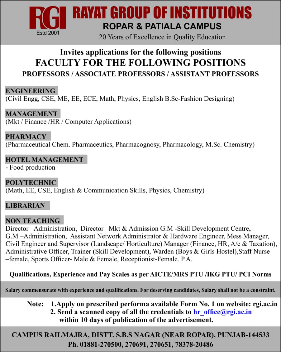 Jobs Career Rayat Group Of Institutions